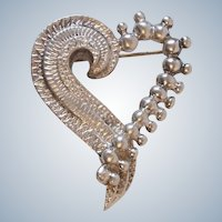 TM-90 D Molina 925 Sterling Silver Heart Brooch Taxco Mexico