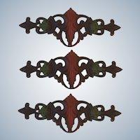 3 Vintage Cast Iron Curtain Swing Arm Rod Centerpiece Medallion Plates 0-50