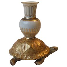 Royal Worcester Porcelain Tortoise and Amphora Candlestick
