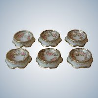 Set 6 Antique Nippon Hand Painted Porcelain Open Salt Cellars Dips