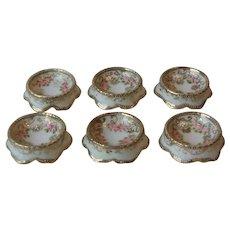 Set 6 Antique Nippon Hand Painted Porcelain Open Salt Cellars Dips