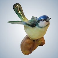 Crown Staffordshire England Porcelain Tomtit Bird On Log Figurine