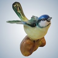 Crown Staffordshire England Porcelain Tomtit Bird On Log Figurine
