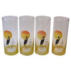 Set of 4 Panache Tom Collins Glasses Heron at Sunset