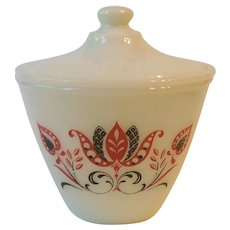 Fire King Modern Tulip Grease Drip Jar with Lid