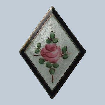 Vintage Guilloche Enamel and Brass Rose Brooch