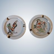 2 Vintage Trader Vic's Tiki Bar Hawaiian Dancers Risque Ashtrays