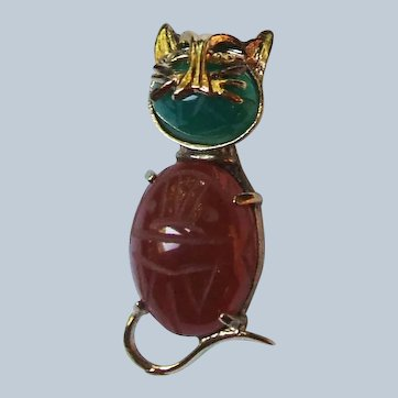 D'OR STER. Scarab Figural Cat Brooch
