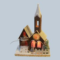 Japan Large Mica Lighted Village Church Music Box 12.75 Inch in Box