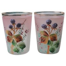 2 Vintage Frosted Glass Enameled Tumblers Raspberry Prunts