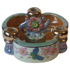 Made in Japan Luster Luster Ware Candle Bowl and Flower Frog