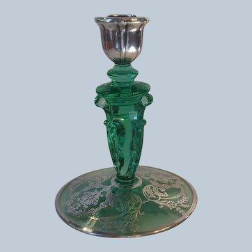 Heisey Glass Empress Moongleam Green Candlestick Silver Overlay