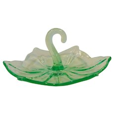 Westmoreland Glass Green Lotus Candy Dish Question Mark Handle