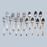 Rogers 1950 April 8 Dessert Forks 7 Teaspoons International Silver Plate