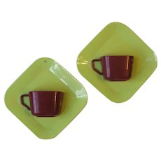 2 Mid Century Maherware Hard Plastic Coffee Cup Wall Pockets