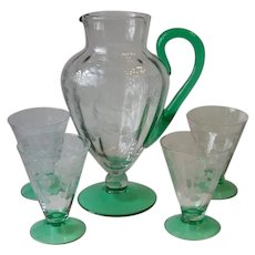 Clear, Green Elegant Glass Irish Shamrock Beverage Set Pitcher 4 Glasses