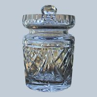 Vintage Waterford Crystal Jam Jelly Honey Jar with Notched Lid