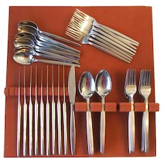 Hanford Forge Northern Sea Japan MCM Stainless Flatware Set Service for 10