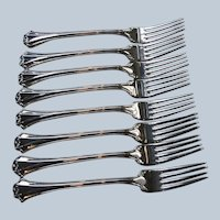 8 Dinner Forks Reed and Barton French Chippendale Silverplate Flatware