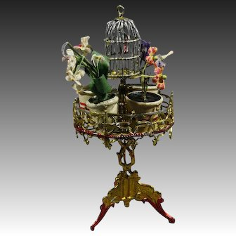 Antique Dollhouse Soft Metal Pedestal Plant Stand with Bird Cage