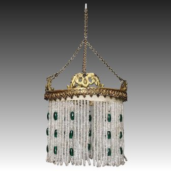 Wonderful Brass Chandelier with Glass Beads for Dollhouse