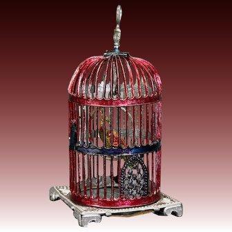 Antique Bird Cage with Rare Paradise Bird - By Babette Schweizer