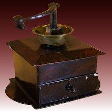 Rare Miniature Tin Coffee Grinder - By Rock & Graner