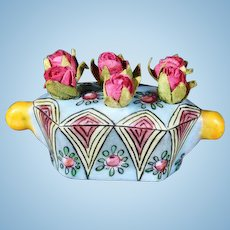 French Porcelain Flower-Holder from Desvres - By Gabriel Fourmaintraux