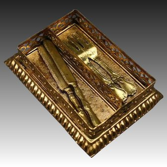 Ormolu Cutlery Tray with knives and forks by Erhard & Söhne