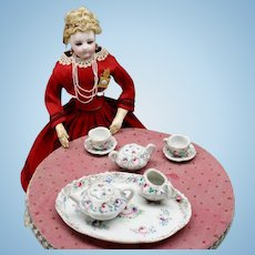 French Porcelain Tete-a-Tete Tea Service for Fashion Dolls