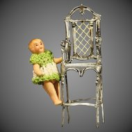 Very Decorative Child High Chair in Painted Soft Metal and its Baby