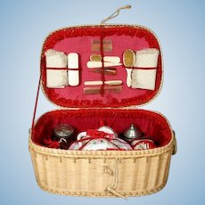 Original Wicker Basket with Toilette Set for Dolls