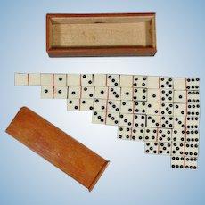 Antique Miniature Domino Game in Original Wooden Box