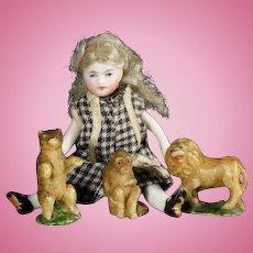 Antique Miniature Wax Bear, Monkey and Lion