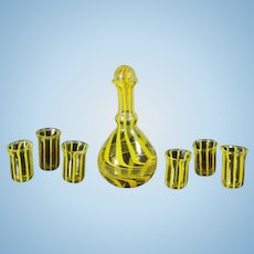 Very Decorative Glass Set with Wine Decanter and Six Glasses