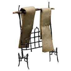 Antique Miniature Soft Metal Towel Rack with Original Towels