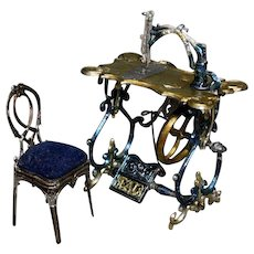 Early Elegant Doll's house Sewing Machine with Chair