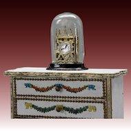 Antique Miniature Mantel Clock under Blown Glass Dome