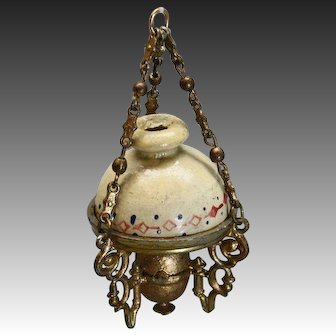 Gold Painted Pewter Hanging Kerosene Lamp