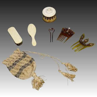 Antique Beauty Hair Accessories and Bee Brooch Pin for Fashion Dolls or Jumeau Dolls