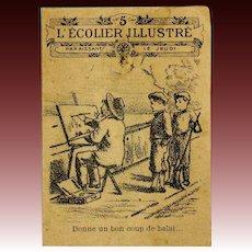 Humoristic French Newspaper for Your Fashion Doll - L'ECOLIER ILLUSTRE - circa 1905