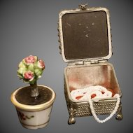 Antique Miniature Jewel Box with Mirror on Top