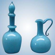 Antique Miniature Blue Opaline Glass Pitcher and Decanter