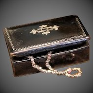 Antique Miniature Jewel Box with inlay on Top