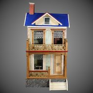 Antique All Original Blue-roofed Dollhouse for the French Market by Moritz Gottschalk