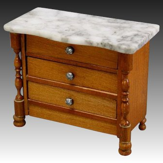 Antique Dollhouse Chest with three drawers and Marble top