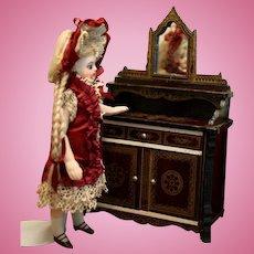 Antique Biedermeier Dollhouse Dessert Buffet in the Boulle style