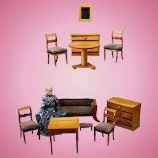 Elegant Dollhouse Furniture Set - Biedermeier Era