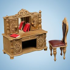 Antique Dollhouse Wooden Desk with Applique Carvings