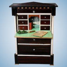 Antique German Biedermeier Secretary Desk for Fashion Doll - by Kestner